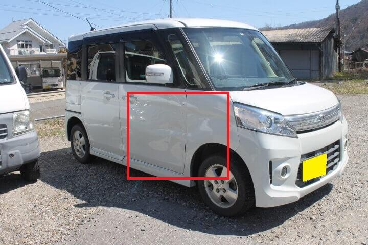 SUZUKI H25年式 MK32Sスペーシアカスタム 右側前部の板金塗装